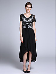 LAN TING BRIDE Sheath / Column Mother of the Bride Dress - Little Black Dress Asymmetrical Short Sleeve Chiffon with Appliques