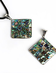 Beadia 47x47mm Square Shape Natural Mother of Pearl Abalone Shell Pendant (1Pc)