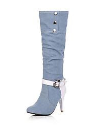 Feminino-Botas-Botas da Moda-Salto Agulha-Preto Azul Azul Real-Courino-Ar-Livre Escritório & Trabalho Casual