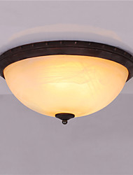 3 Heads Retro Country Style Flush Mount Ceiling Fixture Glass Shade Living Room Bedroom Kitchen Entry Hallway