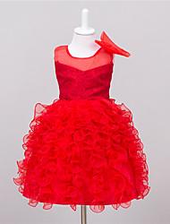 Mädchen Kleid-Party/Cocktail einfarbig Polyester Sommer Rosa / Rot / Weiß