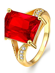 Band Rings Gemstone Gold Plated Square Fashion Elegant Dark Red Jewelry Wedding Party Daily 1pc