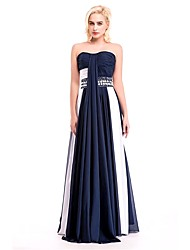 Formal Evening Dress Sheath / Column Sweetheart Floor-length Chiffon with Pearl Detailing
