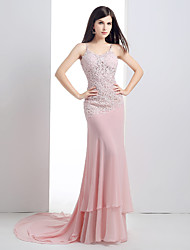 Formal Evening Dress Trumpet / Mermaid Spaghetti Straps Court Train Chiffon / Lace with Crystal Detailing / Lace