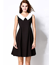 Women's Going out Simple Sheath Dress,Color Block Peter Pan Collar Above Knee Sleeveless Black Polyester Summer