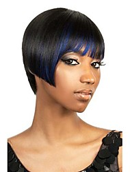 New Arrival Black Women Sexy Cool Short Straight Jet Black Mix Blue Special Popular Fashion Wigs