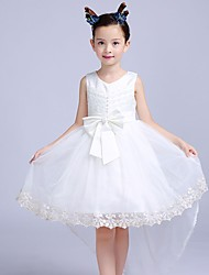 A-line Asymmetrical Flower Girl Dress - Cotton / Satin / Tulle Sleeveless V-neck with
