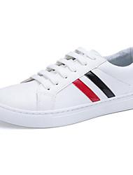 Herren-Flache Schuhe-Sportlich-PU-Flacher AbsatzSchwarz / Weiß