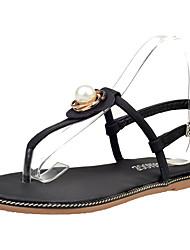 Zapatos de mujer-Tacón Plano-Punta Redonda-Sandalias-Oficina y Trabajo / Casual / Fiesta y Noche-Semicuero-Negro