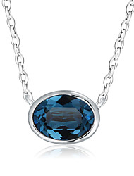 Women's Pendant Necklaces AAA Cubic Zirconia Zircon Cubic Zirconia Platinum Plated Gold Plated Oval Fashion Dark Blue Light Blue Jewelry