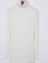 Long Pullover Femme Décontracté / Quotidien simple,Couleur Pleine Bleu / Rose / Blanc / Noir Col Roulé Manches Longues Coton / Nylon