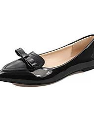 женская обувь из кожзаменителя плоский каблук комфорт / острым носом квартира на открытом воздухе / случайный черный / розовый / красный
