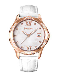 Bestdon® Fashion Lady Schoolgirl Rhinestone Rose Design Dial Calendar Water Resistant Japanese Quartz Wristwatch