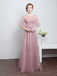Floor-length Satin / Tulle Bridesmaid Dress - Sheath / Column Scoop with Bow(s)