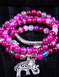 Blue/Purple Gem Stone Beads Strand Bracelet with Elephant Pendant