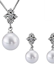 Platinum Plated diamond ball water drop pearl jewelry set for women party necklace/earring Bridal Jewelry Sets S035