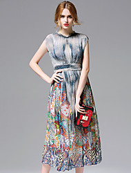 AFOLD® Women's Round Neck Sleeveless Knee-length Dress-5697