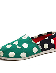 2016 New  Women's  Casual shoes  Canvas Shoes /Flat Heel Polka Dot Green / Burgundy