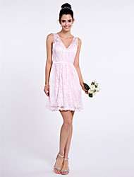 LAN TING BRIDE Short / Mini V-neck Bridesmaid Dress - Short Sleeveless Lace