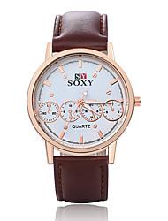 Unisex's Fashion Round Leather Casual Wristwatches Glass Analog Quartz Men Watch