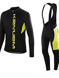 KEIYUEM® Cycling Jersey with Bib Tights Unisex Long Sleeve BikeBreathable / Quick Dry / Dust Proof / Wearable / Stretch / Sweat-wicking /