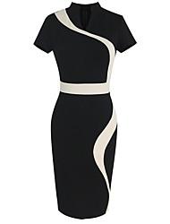 Women's Europe V Neck Vintage Contrast / Block Color Bodycon Short Sleeve Pencil Midi Dress,