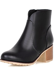 Women's Shoes Winter Motorcycle Boots / Round Toe Boots Dress / Casual Chunky Heel Slip-on Black / Red / Beige