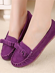 Women's Shoes Leather Spring / Fall Ballerina / Round Toe Flats Casual Flat Heel Bowknot