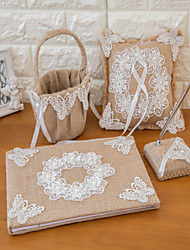 Set of 4 Linen Wedding Collection Set with Lace and Ribbon (Guestbook,Pen Holder,Ring Pillow,Flower Basket)