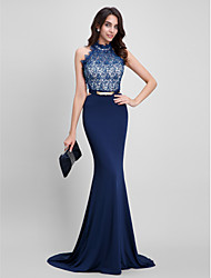 TS Couture® Formal Evening Dress Trumpet / Mermaid Halter Sweep / Brush Train Lace / Jersey with Beading / Lace