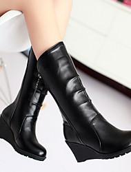 Women's Shoes PU Fall / Winter Combat Boots Boots Casual Wedge Heel Zipper
