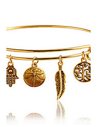 Gold Adjustable Bangle Bracelet with Leaf Palm Pendant