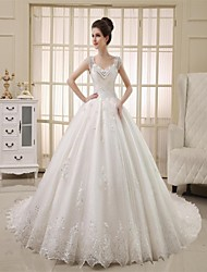 Princess Straps Cathedral Train Tulle Wedding Dress with Beading Lace