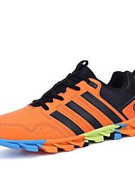sapatos masculinos pu sapatilhas da forma atlética atlético executando outros salto planas preto / verde / laranja