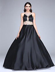 2017 TS Couture® Formal Evening Dress Ball Gown Jewel Floor-length Stretch Satin with Beading / Crystal Detailing