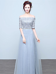 Floor-length Lace / Satin Bridesmaid Dress - Sheath / Column Off-the-shoulder with Crystal Detailing / Lace