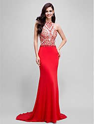 2017 Formal Evening Dress Trumpet / Mermaid Halter Sweep / Brush Train Jersey with Beading