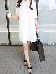 Maternidade Vestido,Happy-Hour Moda de Rua Sólido Colarinho de Camisa Acima do Joelho Meia Manga Branco Poliéster