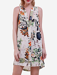 Women's Sexy / Casual / Day Floral Plus Size / Loose Dress , Deep V Mini Polyester