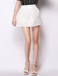 Women's Solid White / Black Skirts,Simple Mini