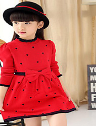 Girl's Casual/Daily Polka Dot Dress,Cotton Summer Black / Red