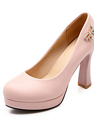 Women's Shoes PU Summer / Fall Heels / Round Toe Office & Career / Casual Chunky Heel Applique / Sparkling Glitter Pink / Red / White