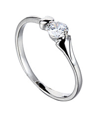 Sjeweler Ladies Platinum Plating White Zircon Bridal Ring Party Ring