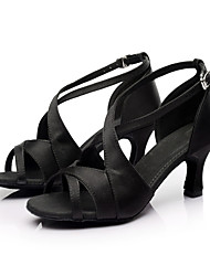 Customizable Women's Dance Shoes Latin/Salsa Satin Customized Heel Black/Brown/Red