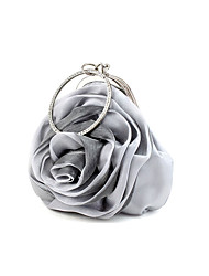 L.WEST Women's Handmade Satin Flower Evening Bag