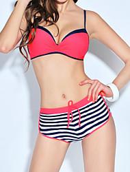 Women's Fine Stripe  Sexy Stripe Boy-leg Swimsuit Bikini