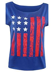Damen Druck Einfach Lässig/Alltäglich T-shirt,Rundhalsausschnitt Sommer Kurzarm Blau Polyester Dünn