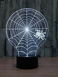 candeeiro de mesa 3d ilusão forma teia de aranha levou como presente de luz que muda de cor à noite