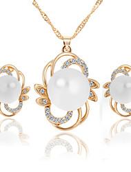 Simple Style Imitation Pearl Rhinestone Alloy Flower Earrings Necklace Set Wedding Bridesmaids Gift