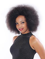 """en stock 8 """"-30"""" frente virgen yaki cordón del pelo humano brasileño recto pelucas de color negro natural para las mujeres negras"""